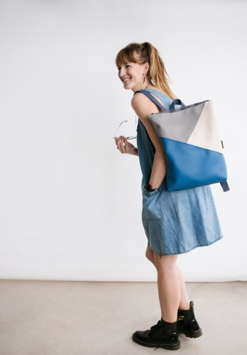 Muni. TRIPLE COLOUR BACKPACK, BLUE